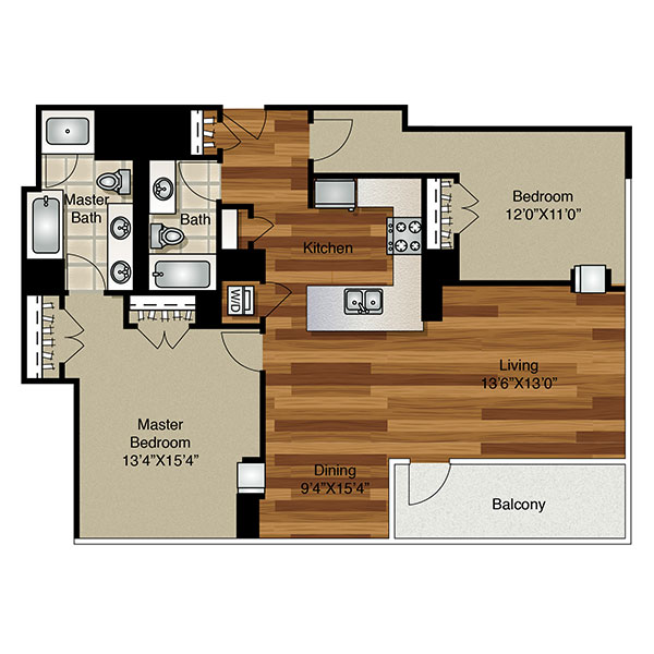 2 Bed 2 Bath 1,250 Sq Ft $3,358   $3,478/mo